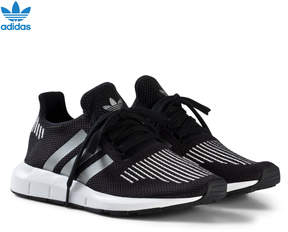 adidas Black and Silver Swift Run Junior Trainers