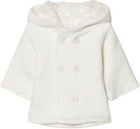 Absorba Cream Knit Hooded Coat with Faux Fur Lining