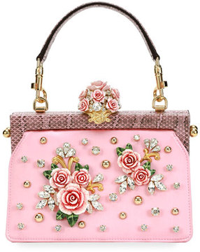 Dolce & Gabbana Vanda Embellished Rose Top-Handle Bag - PINK PATTERN - STYLE