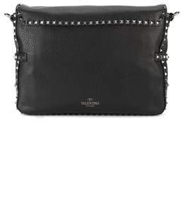 Valentino Men's Black Leather Messenger Bag.
