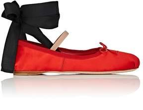 Miu Miu Women's Satin Ankle-Tie Flats