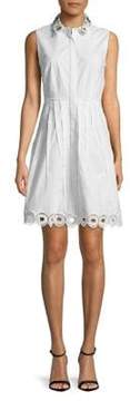 T Tahari Concealed Button-Down Fit-&-Flare Dress