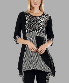 Lily Black & White Pebble Sidetail Tunic - Women