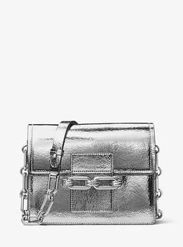 Michael Kors Cate Medium Crackled Metallic Leather Shoulder Bag - SILVER - STYLE