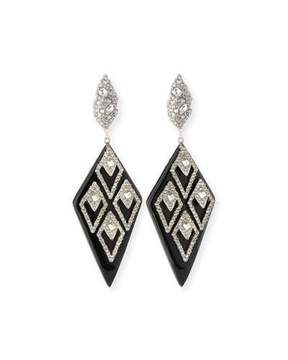 Alexis Bittar Spiked Lattice Crystal Drop Earrings, Black