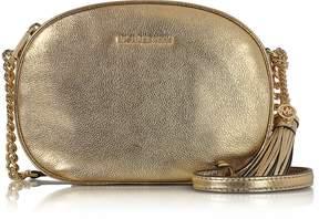 Michael Kors Ginny Pale Gold Pebble Leather Medium Messenger Bag - GOLD - STYLE