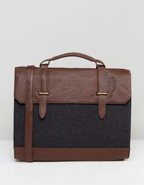 Asos Satchel In Brown Faux Leather And Melton