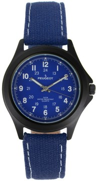 Peugeot Men's Casual Aviator Canvas Watch - 2055BL