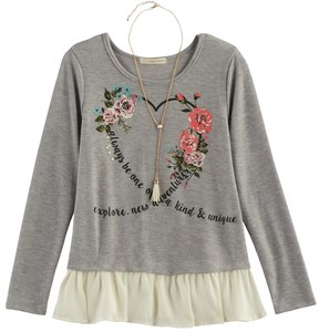 Self Esteem Girls 7-16 Ruffled Hem Graphic Top with Necklace