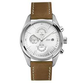 JBW Woodall Silver-tone Case Brown Leather Strap Diamond Multi-Function Men's Watch