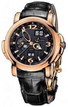 Ulysse Nardin GMT Perpetual Black Dial 18kt Rose Gold Black Leather Men's Watch 326-60-62