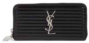 Saint Laurent Women's Opium Textured Leather Zip-Around Wallet - Black - BLACK - STYLE