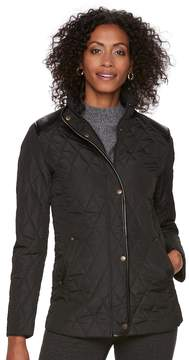 Chaps Women's Faux-Leather Trim Quilted Jacket