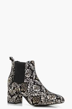 boohoo Baroque Print Low Block Heel Chelsea Boots