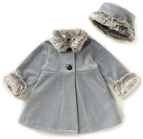 Starting Out Baby Girls 12-24 Months Faux-Fur Trim Coat & Matching Hat Set