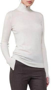 Akris Ribbed Cashmere-Silk Mock-Neck Sweater