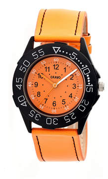 Crayo Womens Fun Orange Leather-Band Watch Cracr2504