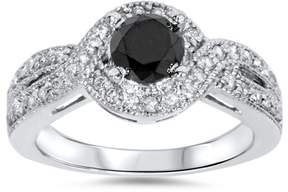 Black Diamond Pompeii3 1ct Womens Pave Halo Trated Engagement Ring 14K White Gold