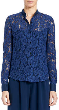 Carolina Herrera Floral-Lace Button-Front Blouse