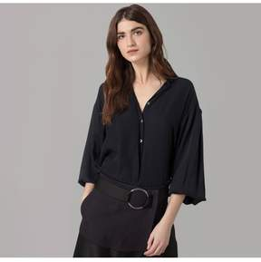Amanda Wakeley | Midnight Satinised Georgette Shirt | Xl | Blue