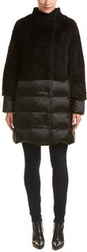 Cinzia Rocca Mixed Media Wool & Alpaca-Blend Down Coat