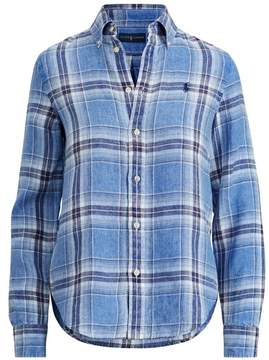 Polo Ralph Lauren | Boy Fit Linen Plaid Shirt | Xl | Black