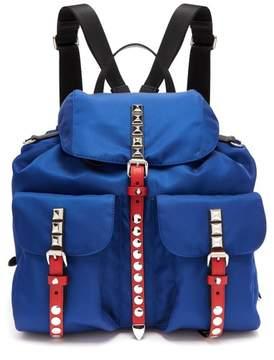 Prada New Vela Stud Embellished Backpack - Womens - Blue Multi