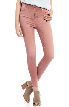 Celebrity Pink Exposed Button Frayed Hem High Rise Ankle Skinny Jeans
