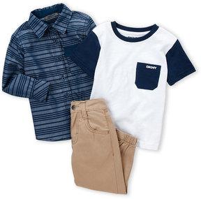 DKNY Infant Boys) 3-Piece Stripe Shirt & Jogger Pants Set