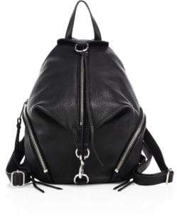 Rebecca Minkoff Julian Medium Leather Backpack - BLACK - STYLE
