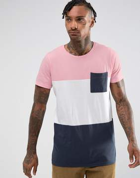 Pull&Bear T-Shirt With Color Block In Pink And Navy