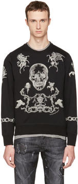 Alexander McQueen Black Embroidered Skull Sweatshirt