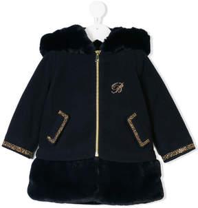 Miss Blumarine faux fur embellished coat