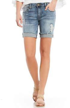 KUT from the Kloth Catherine Boyfriend Frayed Hem Roll-Cuff Shorts