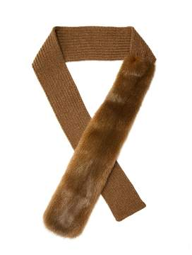 Prada Mink-fur panel wool and cashmere-blend scarf