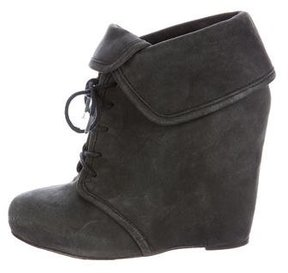 Elizabeth and James Lace-Up Wedge Booties