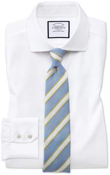 Charles Tyrwhitt Slim Fit Spread Collar Non-Iron Cotton Stretch Oxford White Dress Shirt Single Cuff Size 15/33