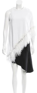Andrew Gn Feather-Embellished Asymmetrical Dress w/ Tags