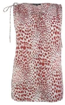 Nine West Women's Safari V-neck Tie Blouse (M, Ivory/Cherry)