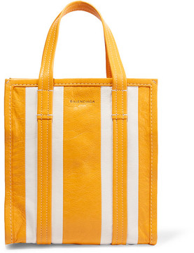 Balenciaga - Bazar Striped Textured-leather Tote - Yellow