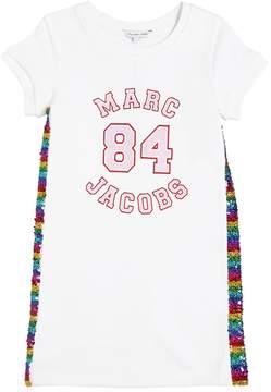 Little Marc Jacobs Logo & Sequins Cotton Sweatshirt Dress