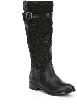 Trotters Lyra Leather and Embossed Snake Print Block Heel Riding Boots