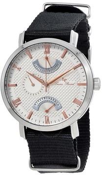 Lucien Piccard Verona Silver Dial Men's Black Textile Watch