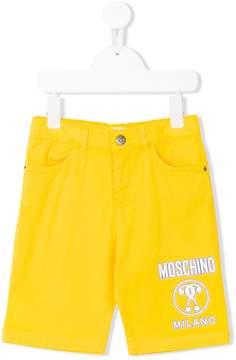 Moschino Kids logo denim shorts