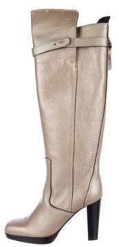 Barbara Bui Metallic Square-Toe Knee-High Boots