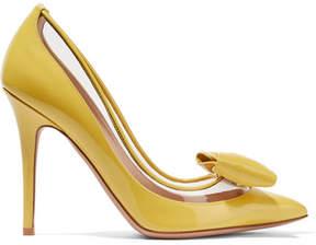 Valentino Garavani Glassglow Pvc-trimmed Patent-leather Pumps - Yellow