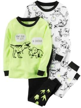 Carter's Baby Clothing Outfit Boys 4-Piece Snug Fit Neon Cotton PJs Dinosaur Tracks, Yellow, 6M