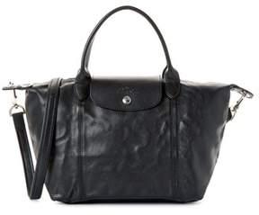 Longchamp Le Pliage Cuir Leather Handbag. - BLACK - STYLE