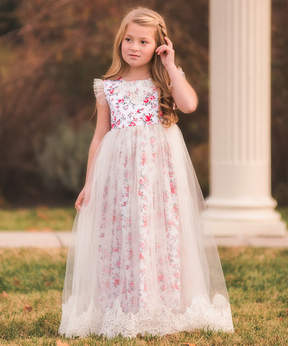 Aletta Red Floral Gown - Toddler & Girls