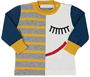 Stella McCartney INFANTS' LUCKY SLEEPING-FACE-PRINT STRIPED COTTON SWEATER